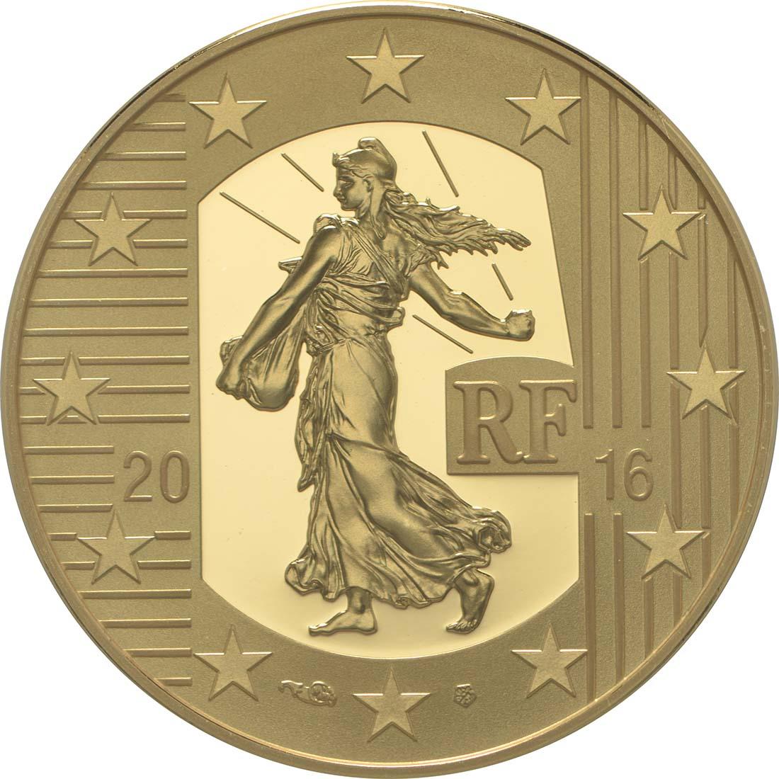 Rückseite:Frankreich : 50 Euro Testone Münzen  2016 PP