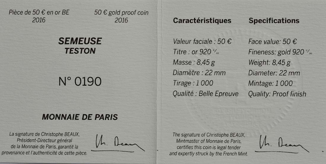 Zertifikat:Frankreich : 50 Euro Testone Münzen  2016 PP