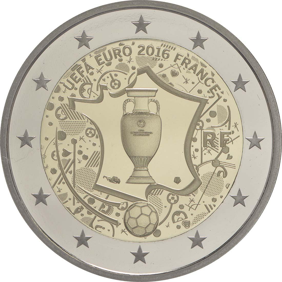 Rückseite:Frankreich : 2 Euro Fußball EM 2016  2016 PP