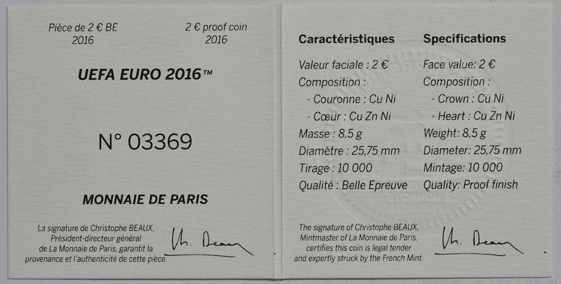 Zertifikat:Frankreich : 2 Euro Fußball EM 2016  2016 PP