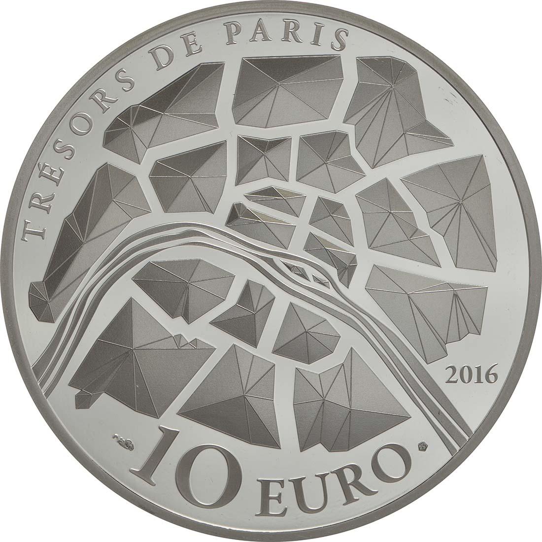 Rückseite:Frankreich : 10 Euro Garnier Oper - teilvergoldet  2016 PP