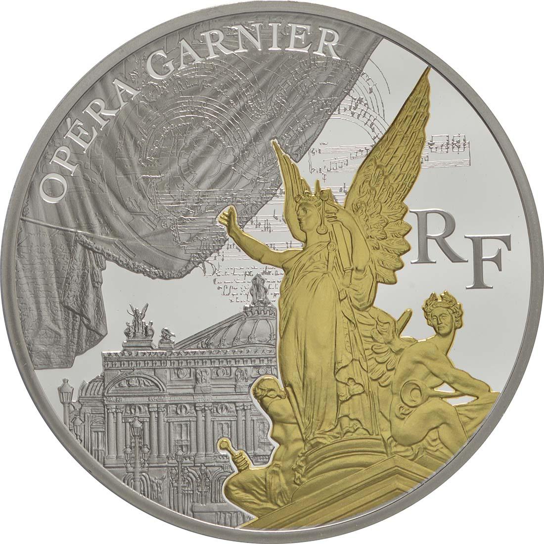 Vorderseite:Frankreich : 10 Euro Garnier Oper - teilvergoldet  2016 PP