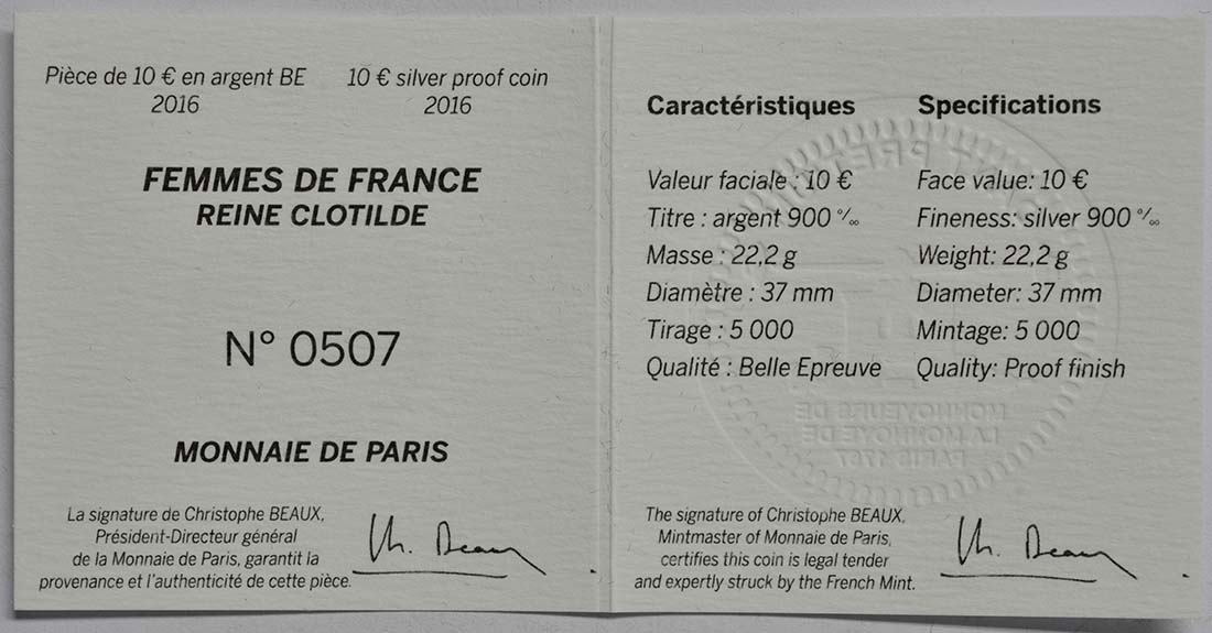 Zertifikat:Frankreich : 10 Euro Königin Clotilde  2016 PP