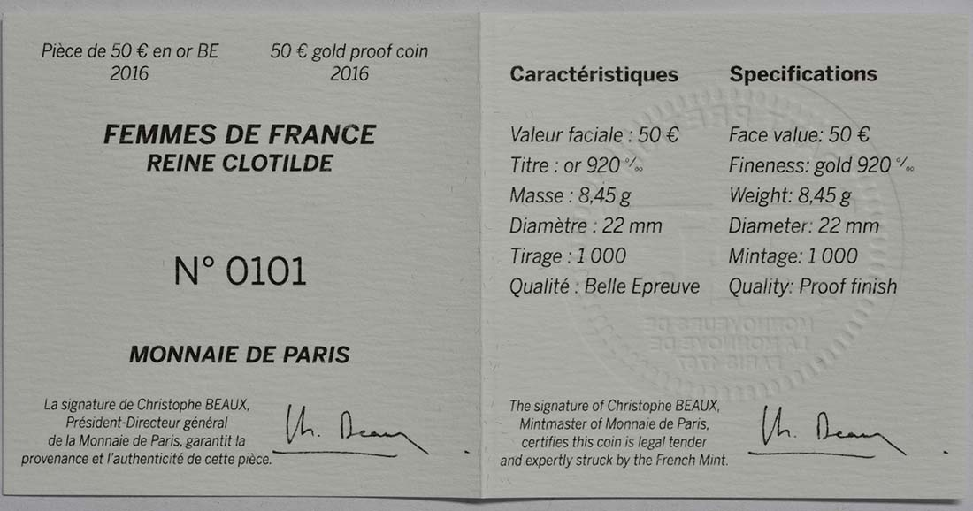 Zertifikat:Frankreich : 50 Euro Königin Clotilde  2016 PP