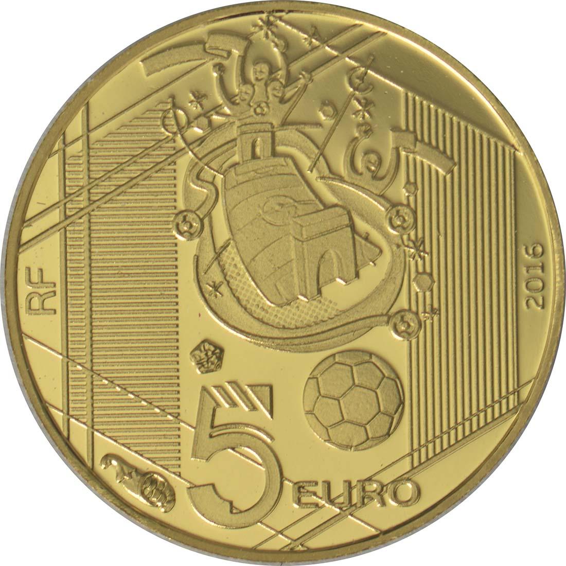 Rückseite:Frankreich : 5 Euro Schuß  2016 PP