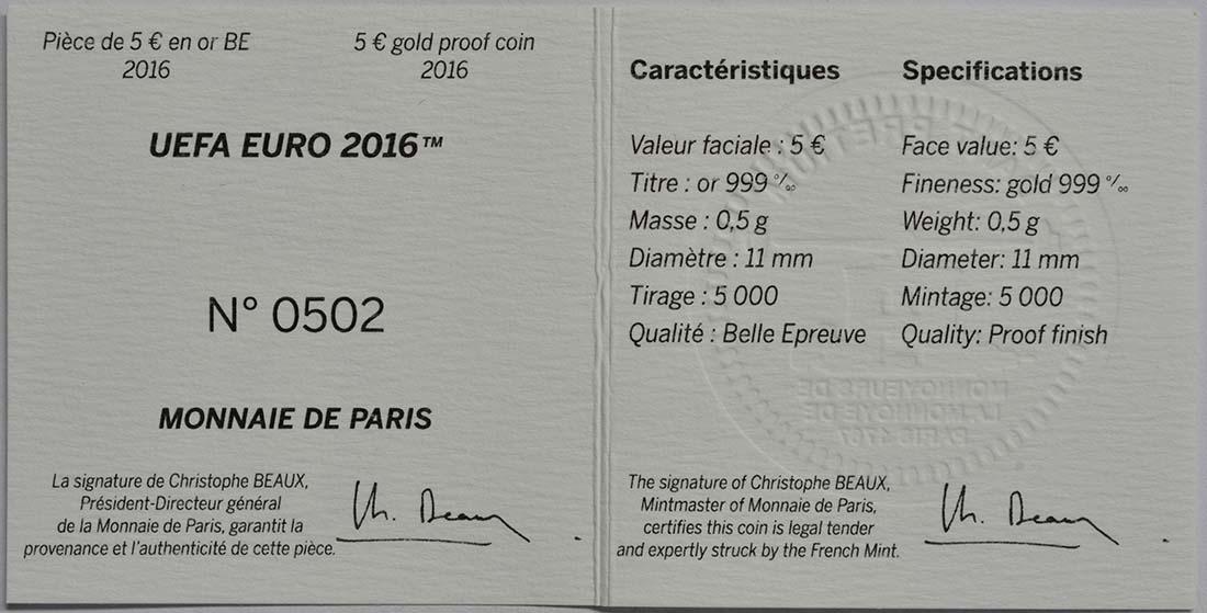 Zertifikat:Frankreich : 5 Euro Schuß  2016 PP