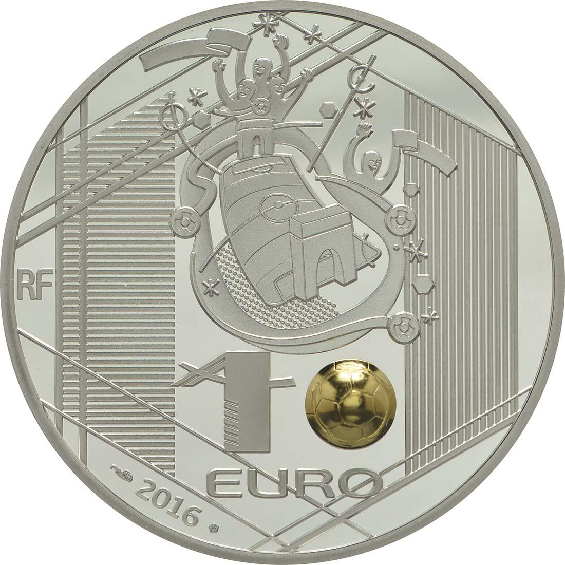 Rückseite:Frankreich : 10 Euro Kopfball - plastisch teilvergoldet  2016 PP