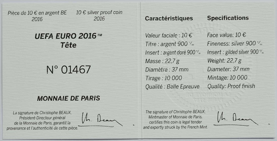 Zertifikat:Frankreich : 10 Euro Kopfball - plastisch teilvergoldet  2016 PP