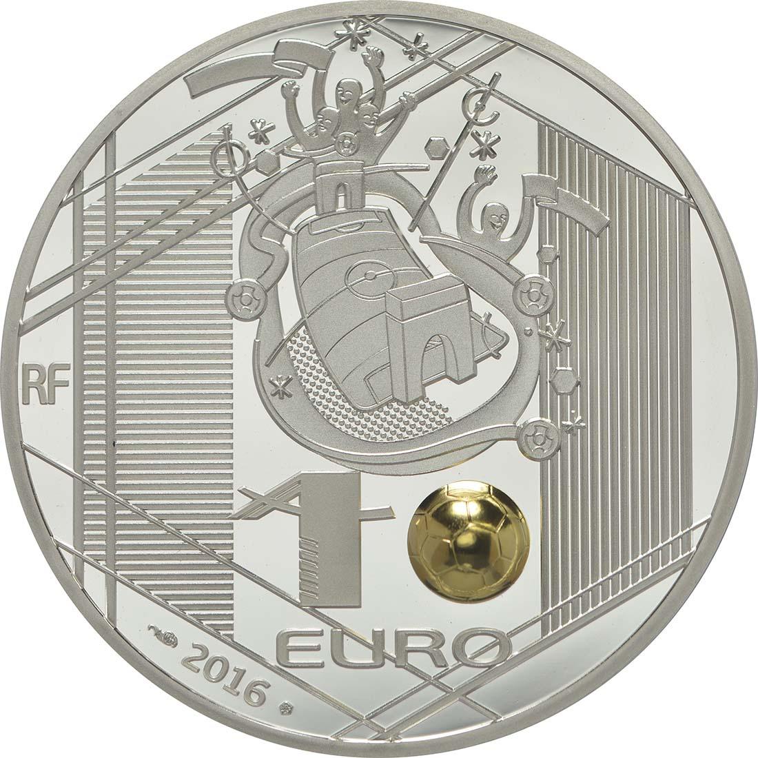 Rückseite:Frankreich : 10 Euro Torwart - plastisch teilvergoldet  2016 PP