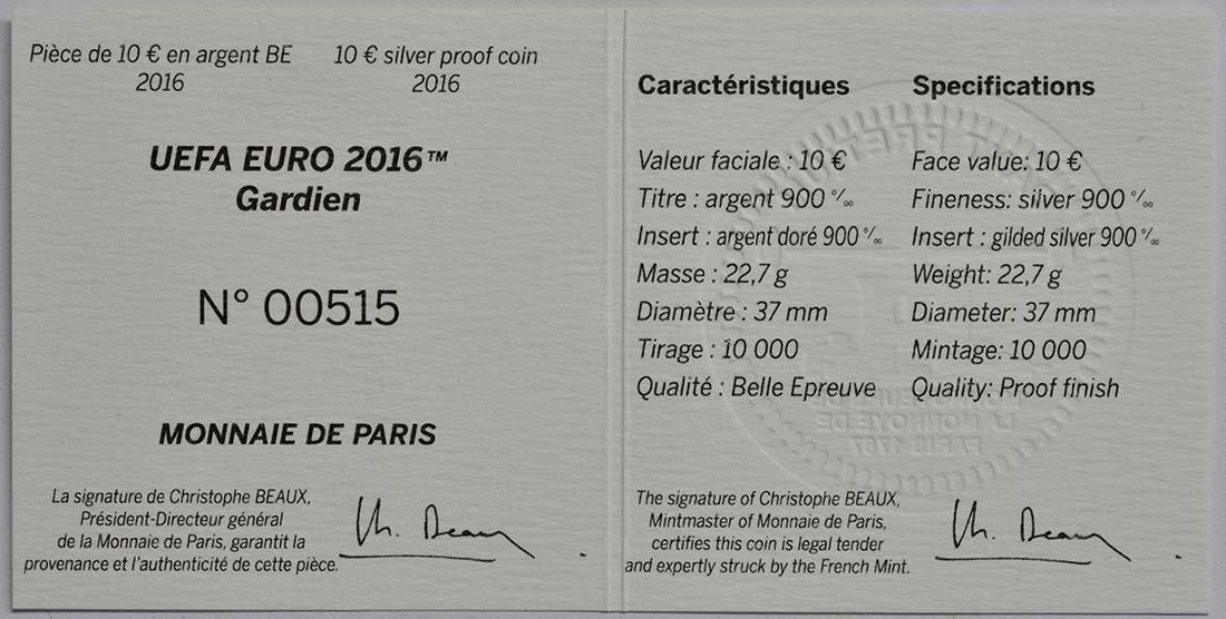 Zertifikat:Frankreich : 10 Euro Torwart - plastisch teilvergoldet  2016 PP