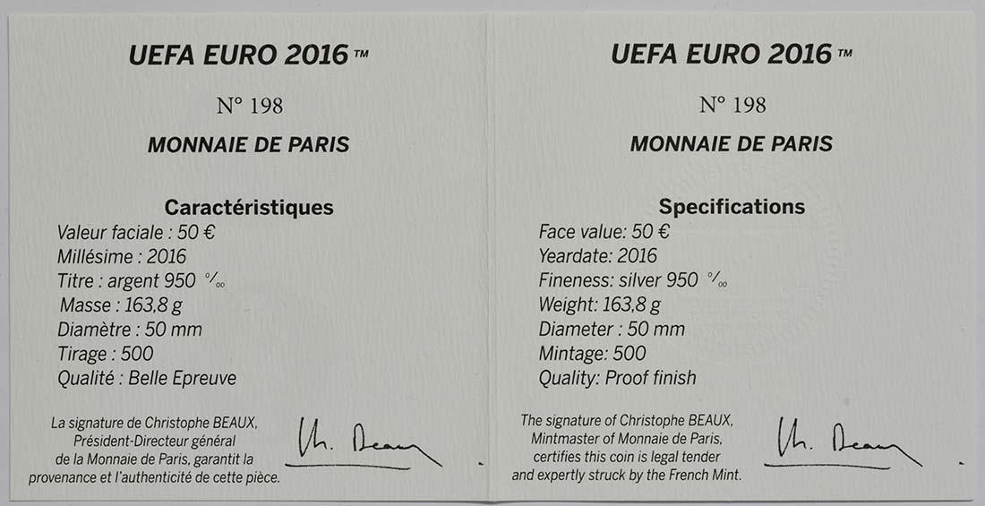 Zertifikat:Frankreich : 50 Euro Schuß  2016 PP