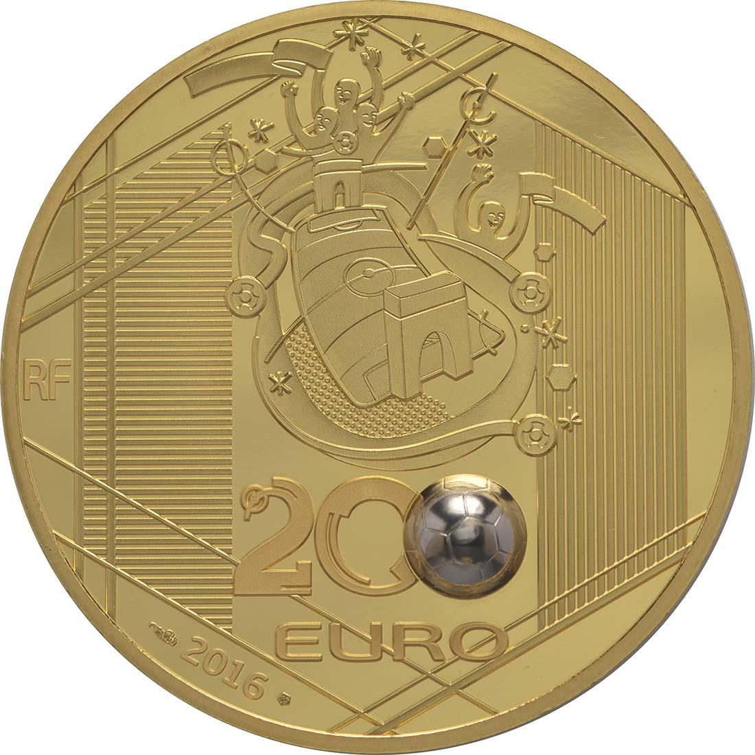 Rückseite:Frankreich : 200 Euro Schuß - plastisch aufgetragenes Weißgold  2016 PP