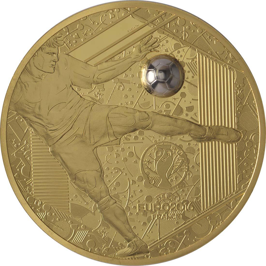 Vorderseite:Frankreich : 200 Euro Schuß - plastisch aufgetragenes Weißgold  2016 PP
