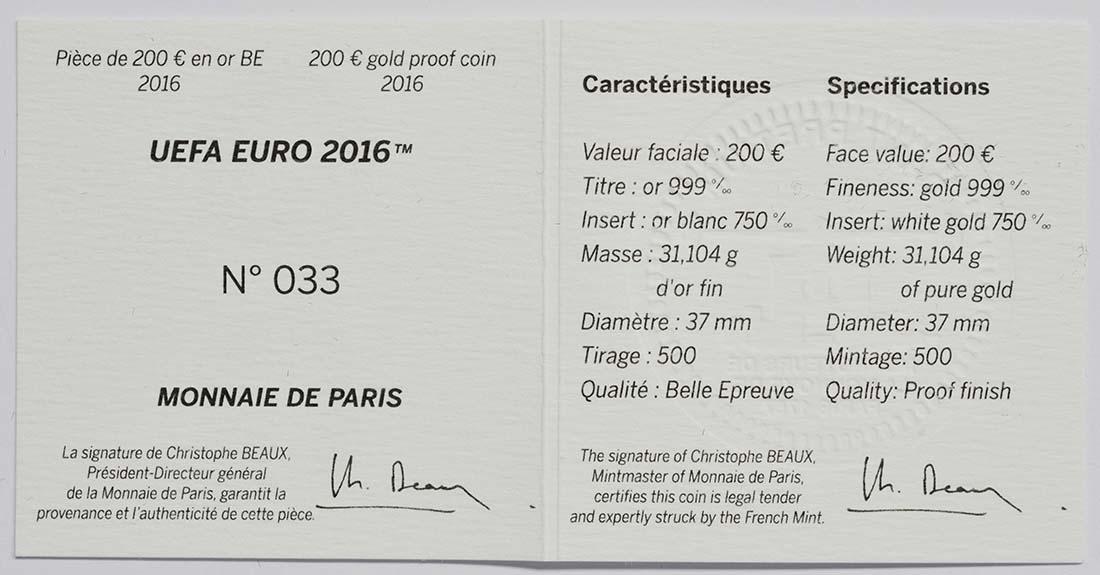 Zertifikat:Frankreich : 200 Euro Schuß - plastisch aufgetragenes Weißgold  2016 PP