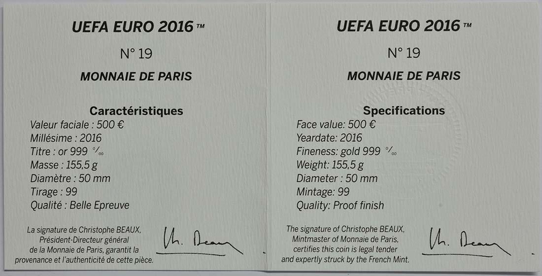 Zertifikat:Frankreich : 500 Euro Schuß  2016 PP