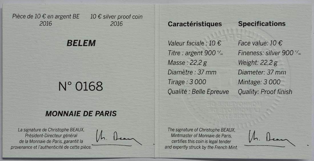 Zertifikat:Frankreich : 10 Euro Bélem  2016 PP