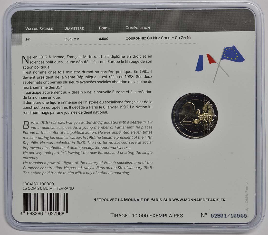 Rückseite:Frankreich : 2 Euro Mitterrand  2016 Stgl.