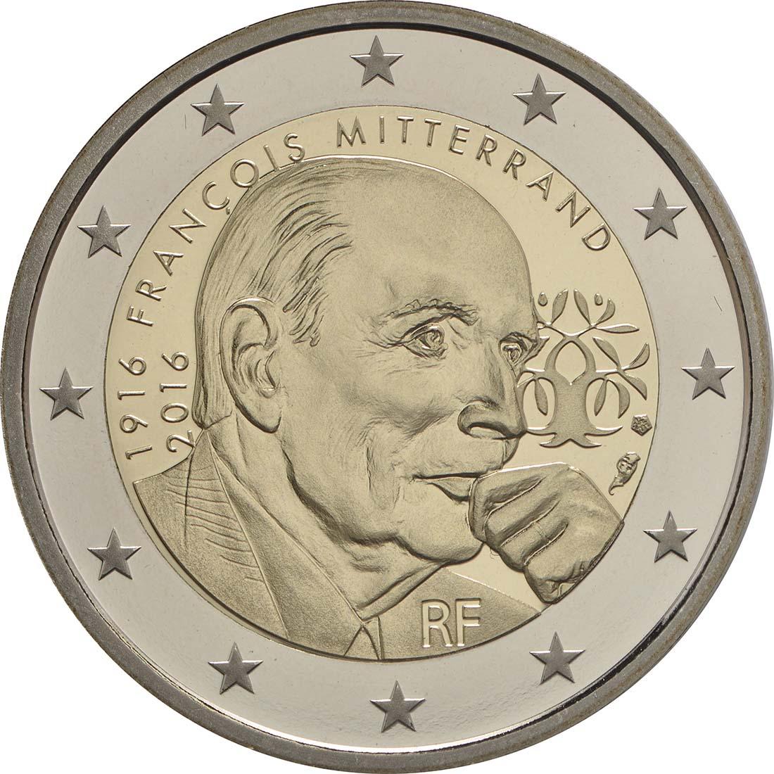 Rückseite:Frankreich : 2 Euro Mitterrand  2016 PP