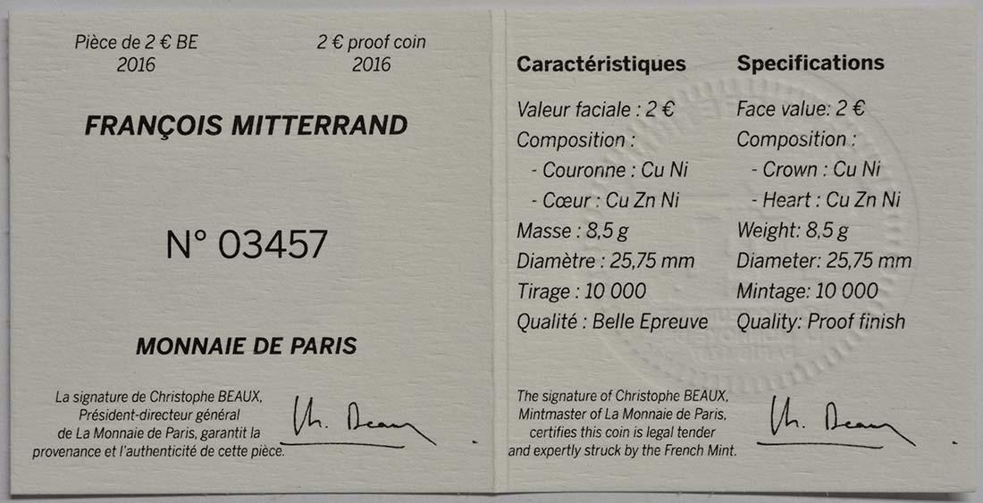 Zertifikat :Frankreich : 2 Euro Mitterrand  2016 PP