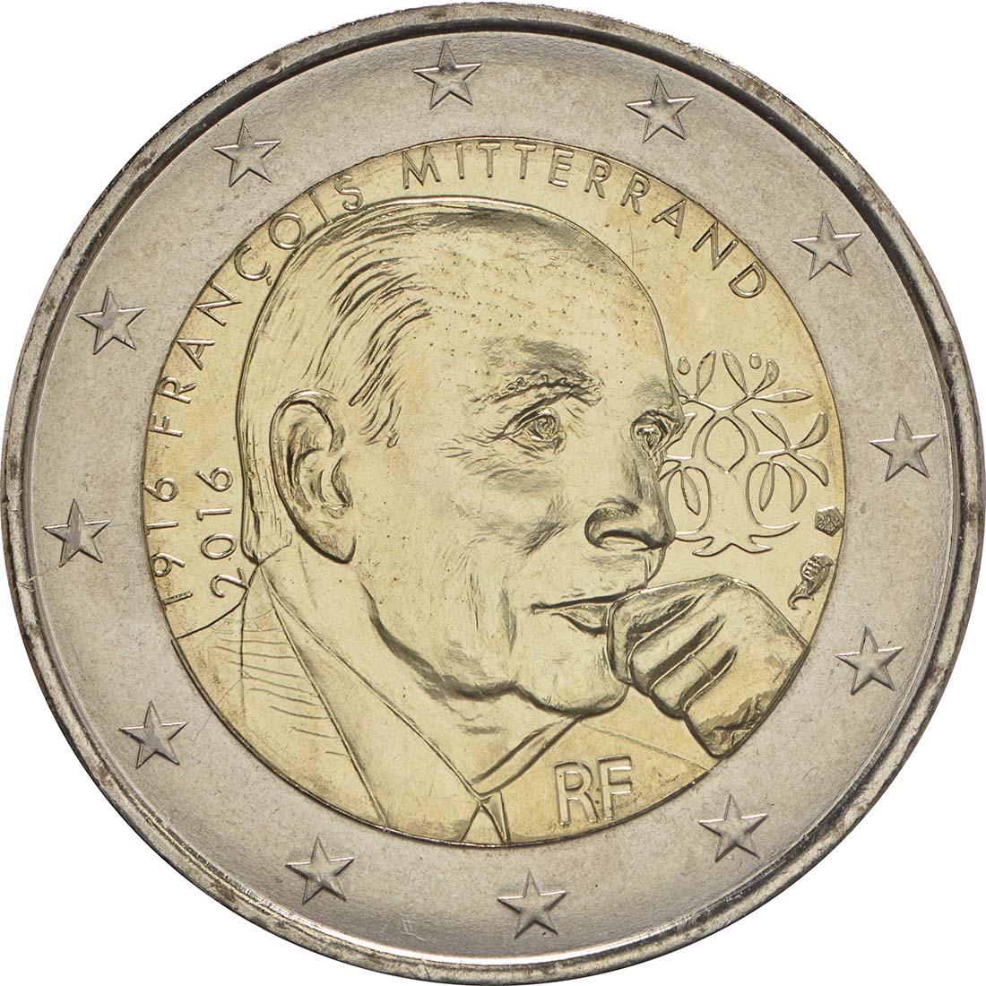 Rückseite :Frankreich : 2 Euro Mitterrand  2016 bfr