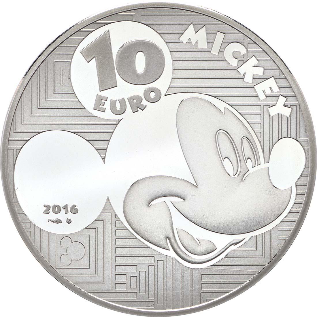 Rückseite:Frankreich : 10 Euro Micky Maus im Wandel der Zeit  2016 PP