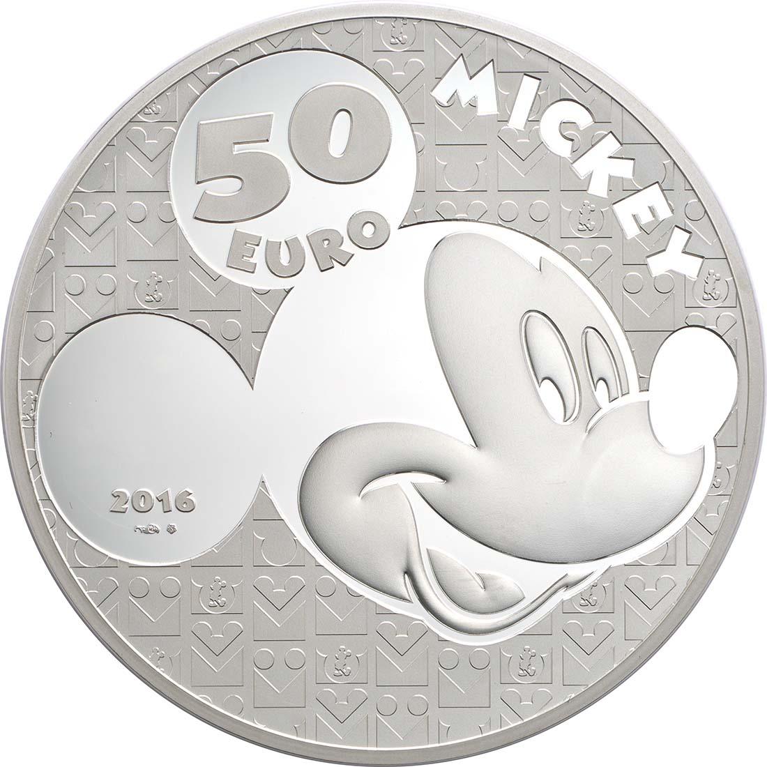 Rückseite:Frankreich : 50 Euro Micky Maus im Wandel der Zeit  2016 PP