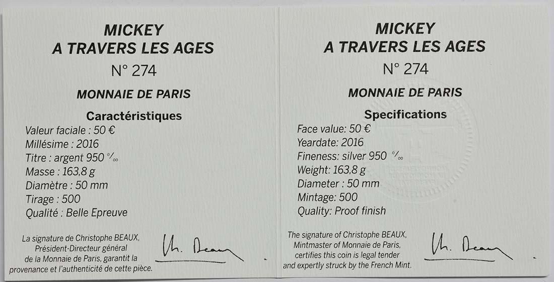 Zertifikat:Frankreich : 50 Euro Micky Maus im Wandel der Zeit  2016 PP