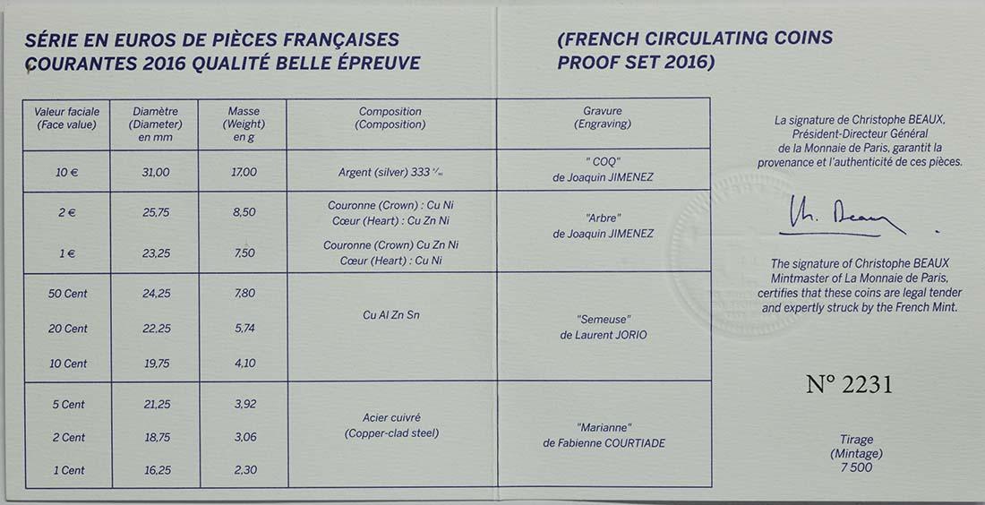 Zertifikat:Frankreich : 13,88 Euro KMS Frankreich mit 10 Euro Gallischer Hahn  2016 PP