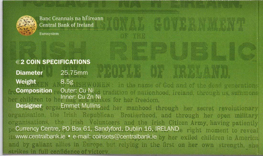 Zertifikat :Irland : 2 Euro 100 Jahre Osteraufstand 1916  2016 bfr