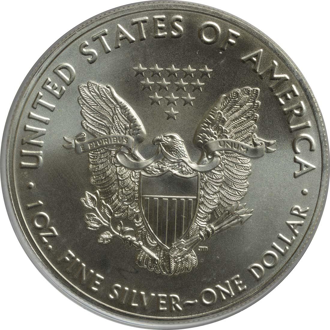 Rückseite:USA : 1 Dollar Silber Eagle - teilvergoldet  2016 Stgl.