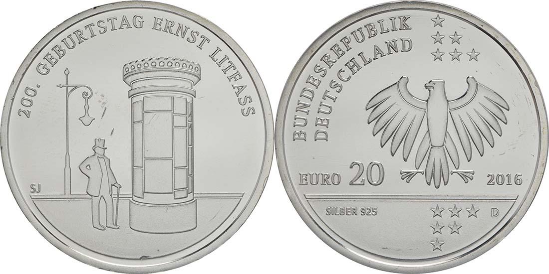Deutschland 20 Euro 200 Geburtstag Ernst Litfaß 2016 D Silber Bfr