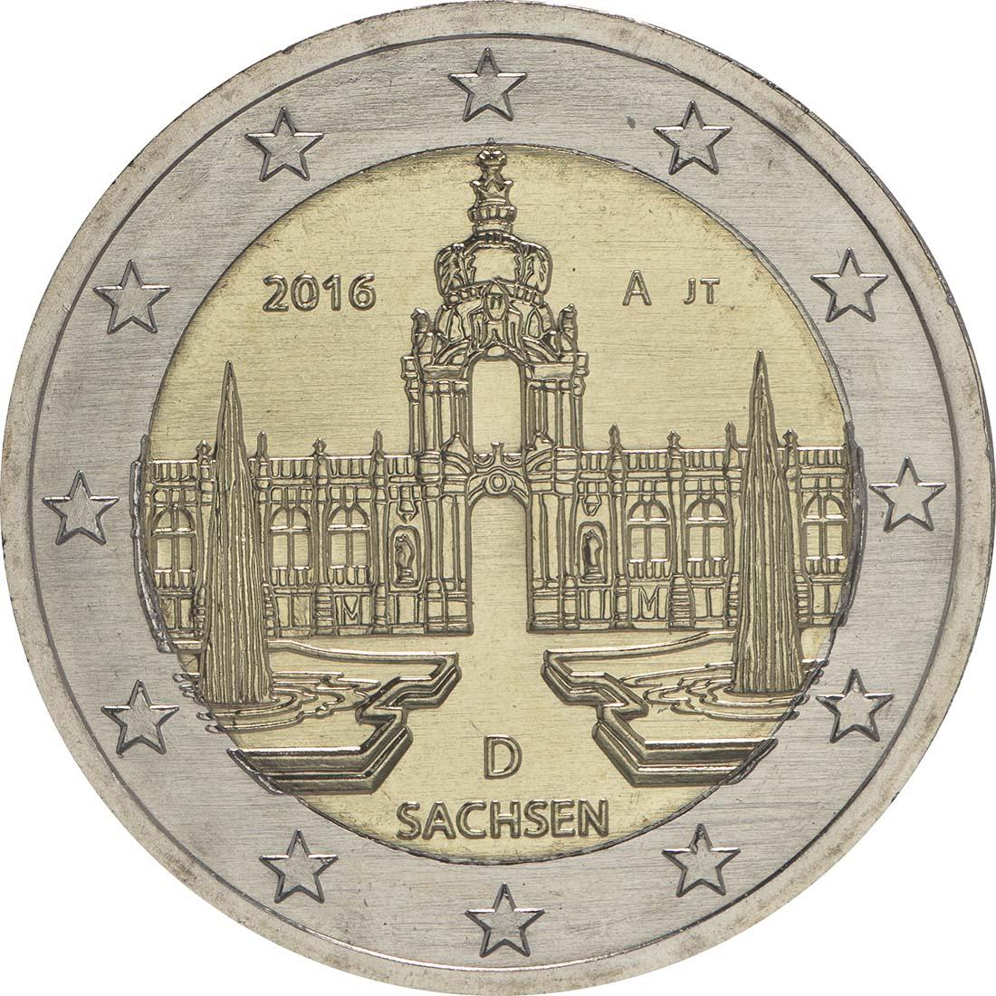 Rückseite:Deutschland : 2 Euro Sachsen - Dresdner Zwinger  2016 bfr