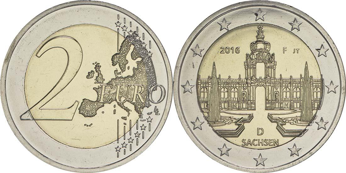 Deutschland : 2 Euro Sachsen - Dresdner Zwinger  2016 bfr