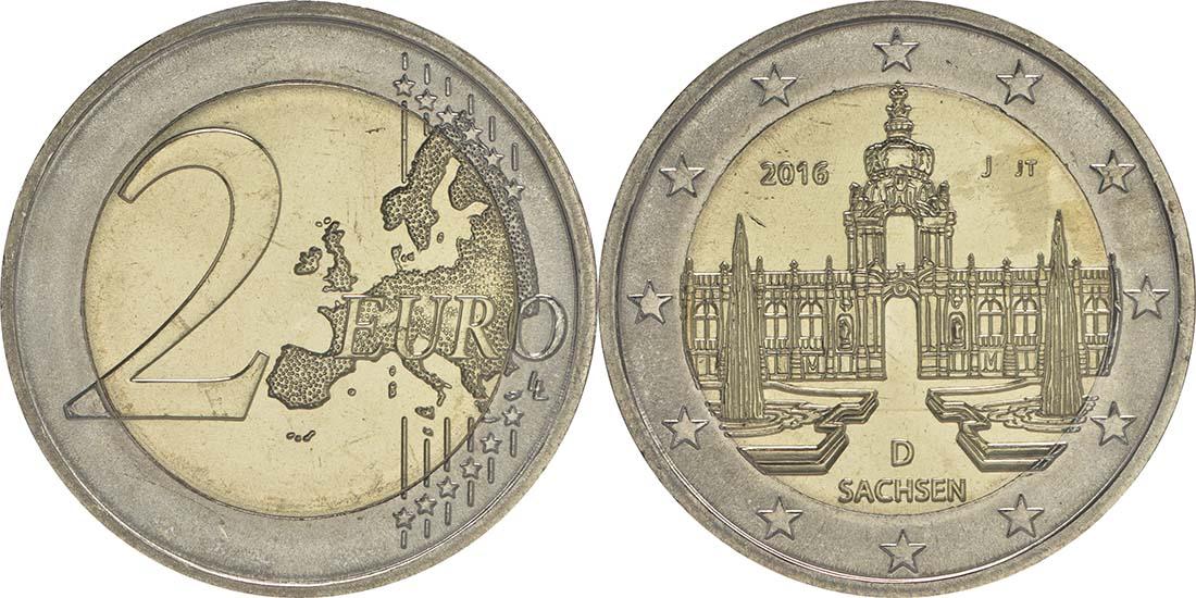 Lieferumfang:Deutschland : 2 Euro Sachsen - Dresdner Zwinger  2016 bfr