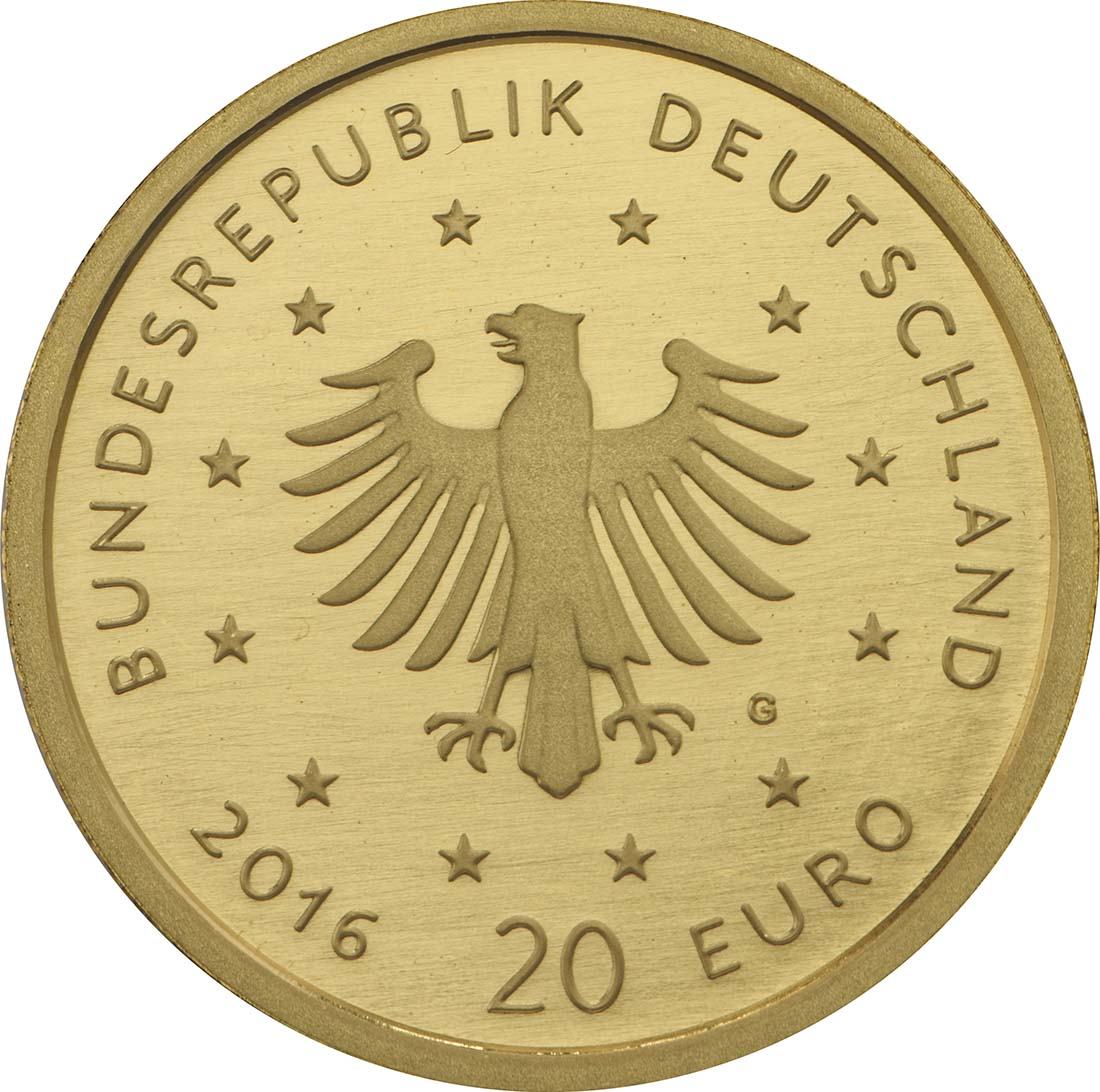 Rückseite :Deutschland : 20 Euro Nachtigall  2016 Stgl.