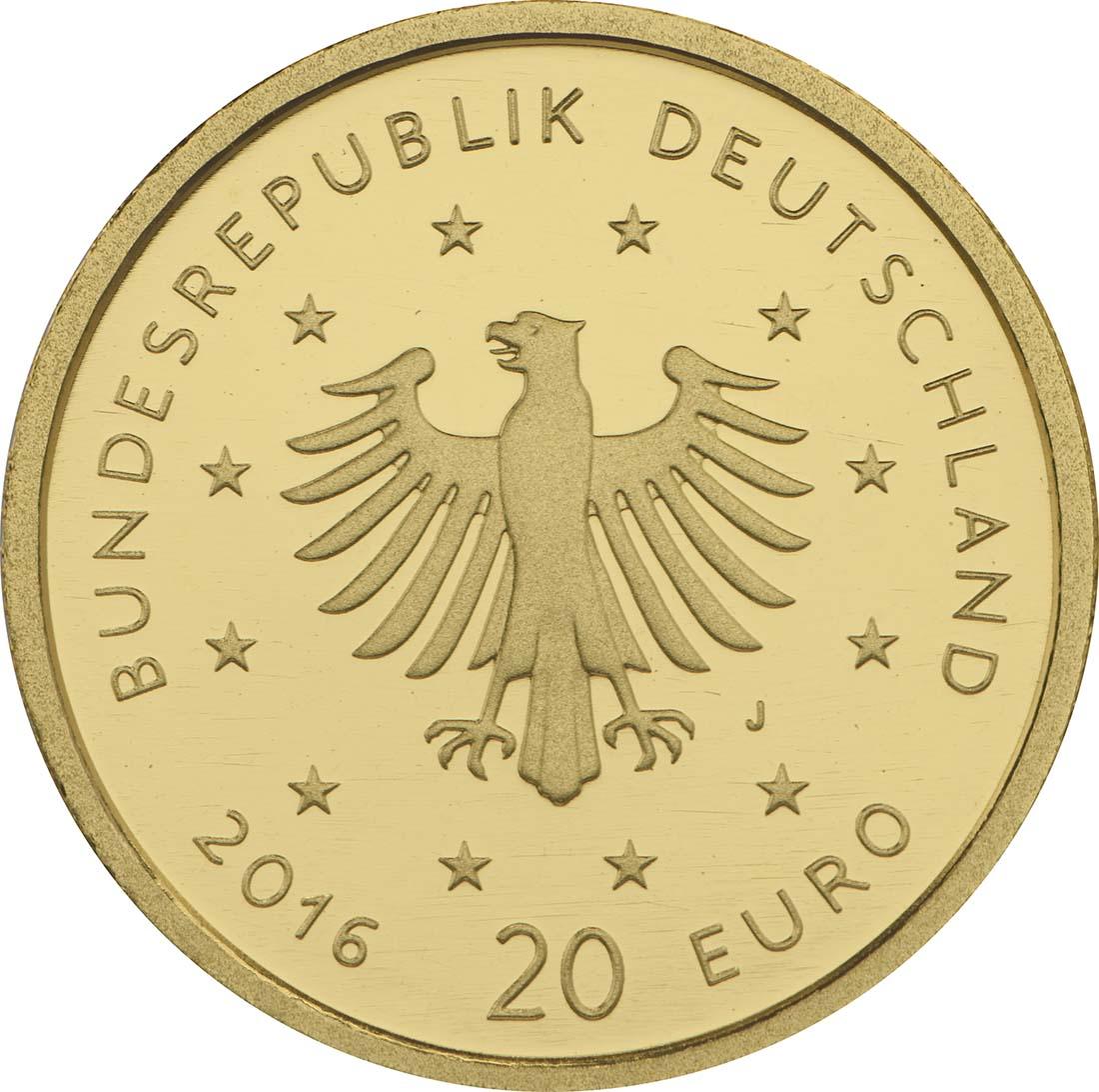 Rückseite:Deutschland : 20 Euro Nachtigall Buchstabe unserer Wahl  2016 Stgl.