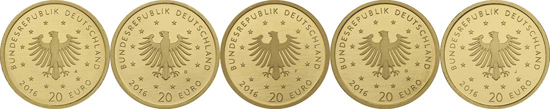 Rückseite:Deutschland : 20 Euro Nachtigall Komplettsatz ADFGJ 5 Müzen  2016 Stgl.