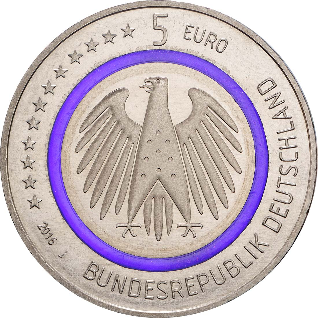 Rückseite:Deutschland : 5 Euro Planet Erde Buchstabe unserer Wahl  2016 bfr