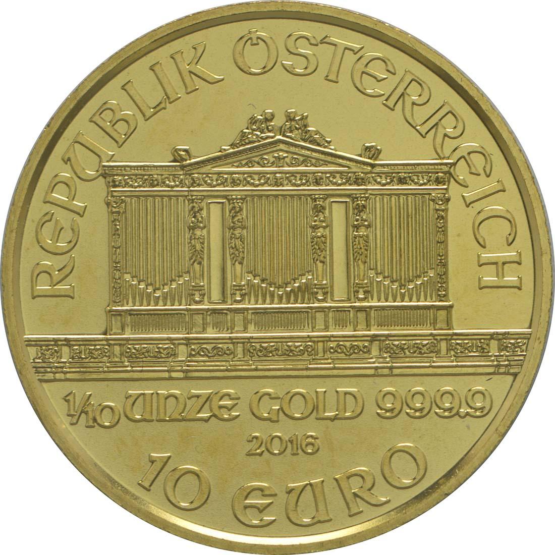 Rückseite:Österreich : 10 Euro Philharmoniker  2016 Stgl.