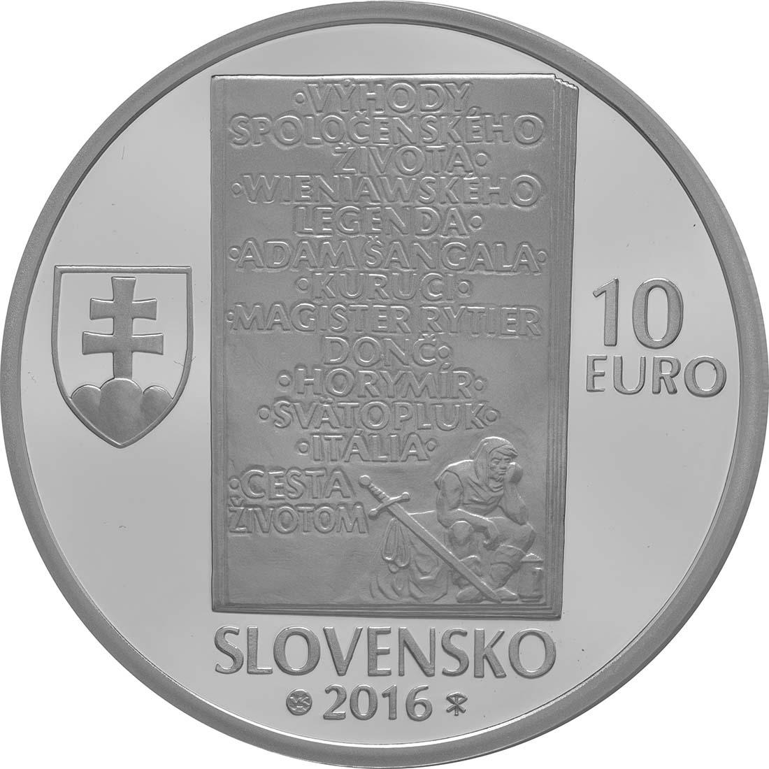 Rückseite:Slowakei : 10 Euro 150. Geburtstag Ladislav Nadasi-Jege (Schriftsteller)  2016 PP