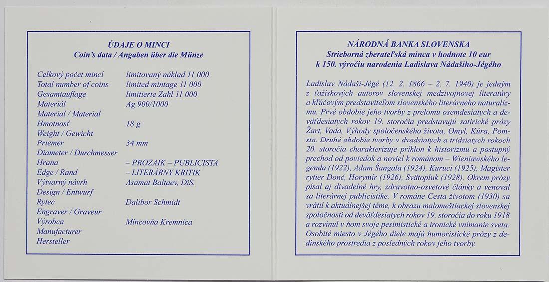 Zertifikat:Slowakei : 10 Euro 150. Geburtstag Ladislav Nadasi-Jege (Schriftsteller)  2016 PP
