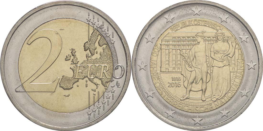 Lieferumfang:Österreich : 2 Euro 200 Jahre Oesterreichische Nationalbank  2016 bfr