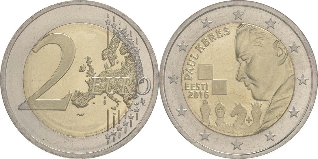 Estland : 2 Euro 100. Geburtstag des Schachgroßmeisters Paul Keres  2016 bfr
