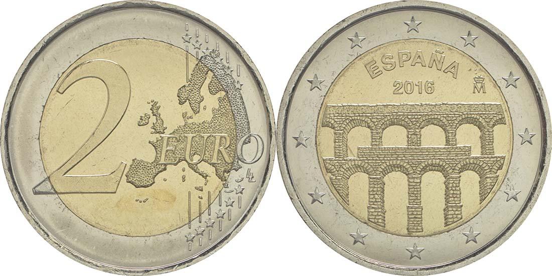 Übersicht:Spanien : 2 Euro Altstadt und Aquädukt von Segovia  2016 bfr