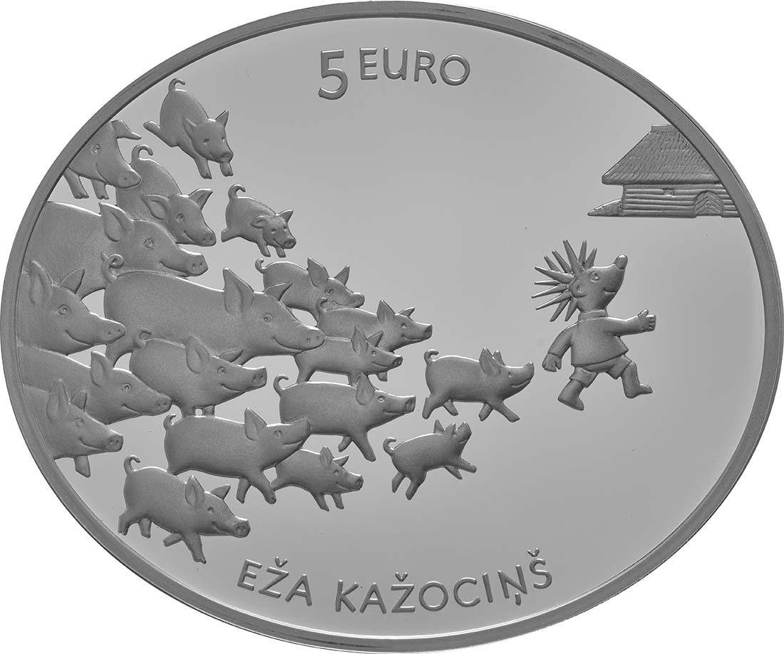 Rückseite:Lettland : 5 Euro Hans mein Igel  2016 PP