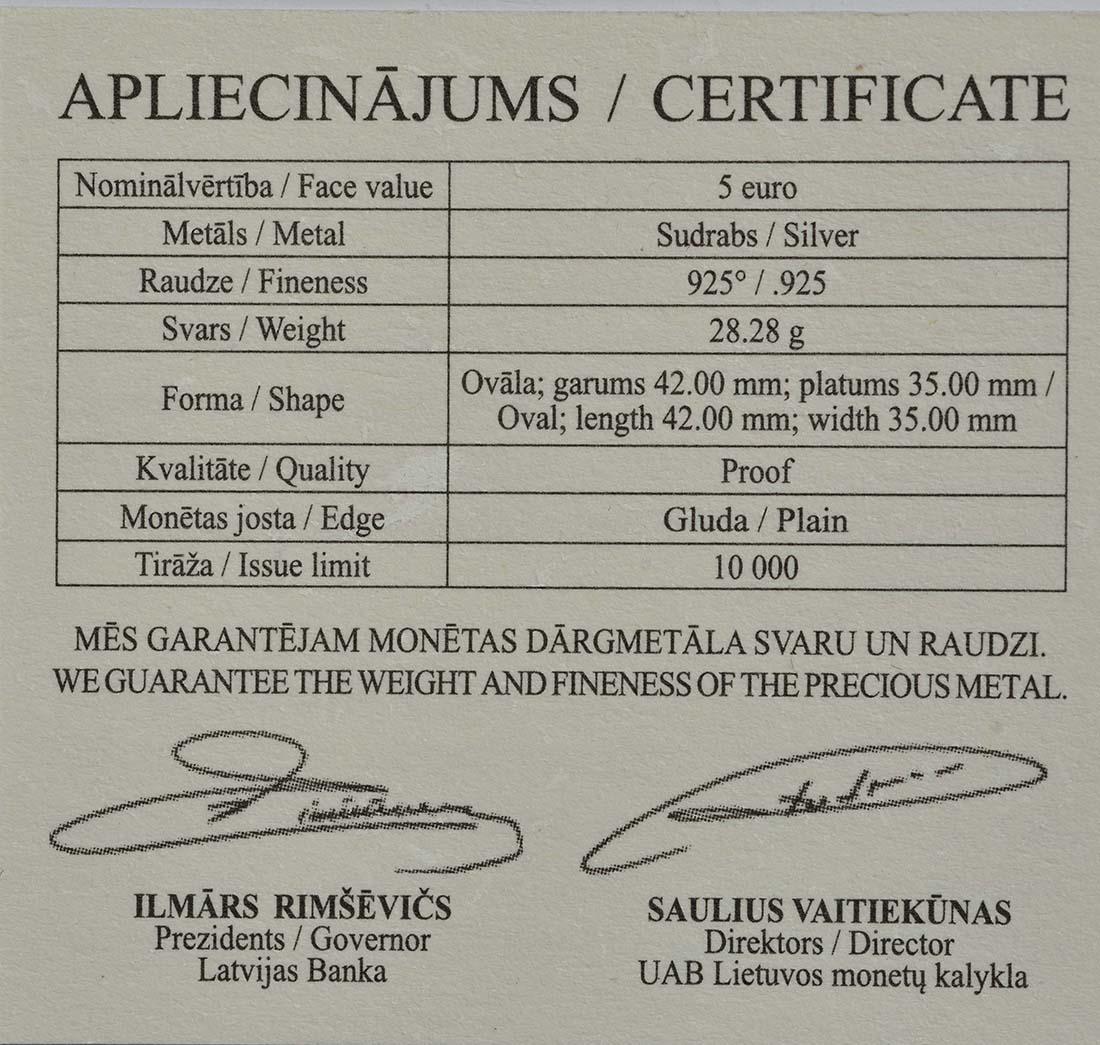 Zertifikat:Lettland : 5 Euro Hans mein Igel  2016 PP