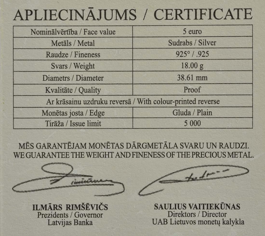 Zertifikat:Lettland : 5 Euro Lettisches Porzellan Baltars  2016 PP