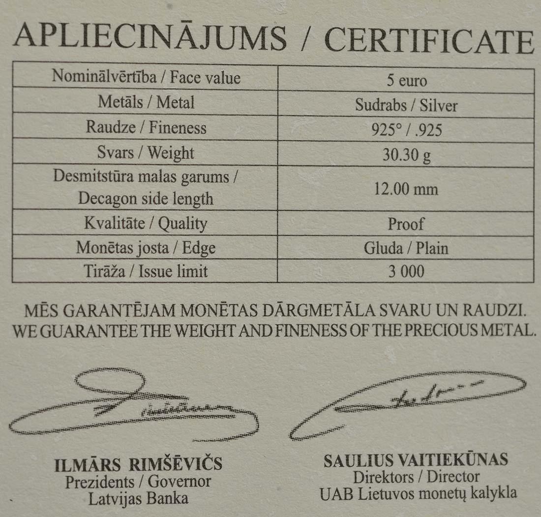 Zertifikat:Lettland : 5 Euro Unternehmertum / Barcode-Münze  2016 PP