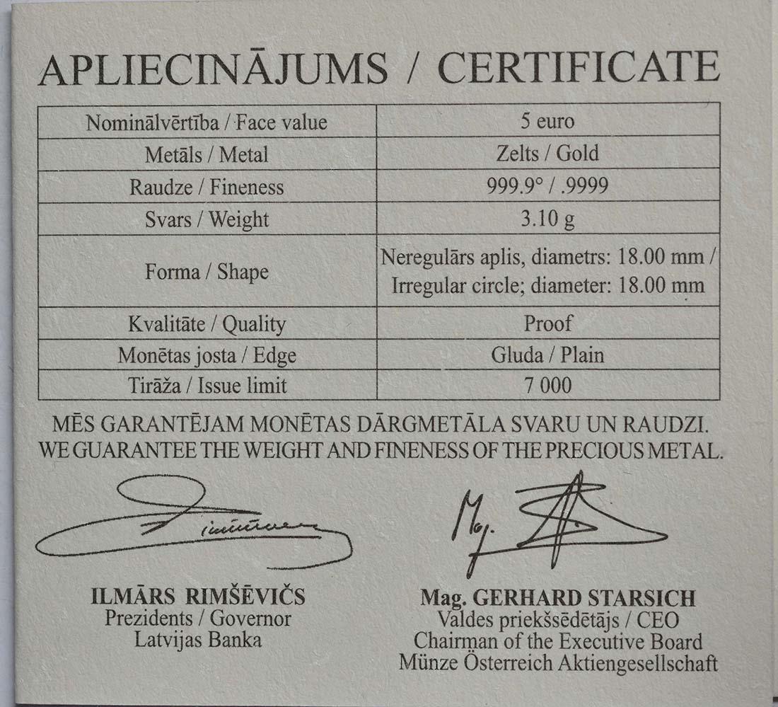 Zertifikat:Lettland : 5 Euro Goldene Brosche I  2016 PP