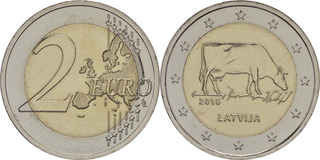 Lieferumfang :Lettland : 2 Euro Kuh  2016 bfr
